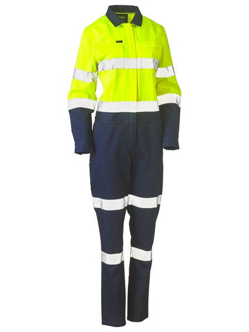 Bisley Womens Taped Hi Vis Cotton Drill Coverall (BCL6066T)