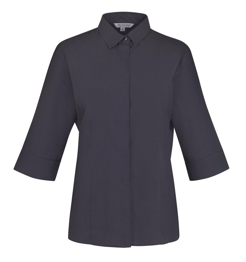 Aussie Pacific-Aussie Pacific Lady Grange 3/4 Sleeve Shirt-Shadow Grey / 4-Uniform Wholesalers - 3