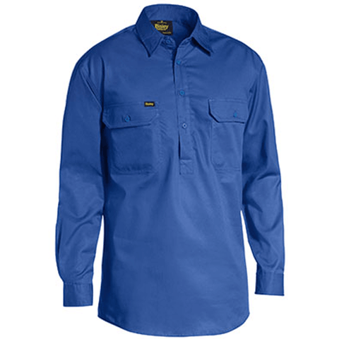 Bisley Closed Front Cotton Light Weight Drill Shirt - Long Sleeve-(BSC6820)