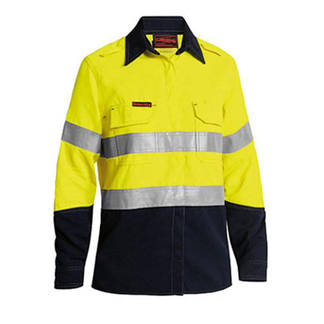 Bisley Tencate Tecasafe Plus Women's Taped Two Tone Hi Vis FR Vented Long Sleeve Shirt-(BL8082T)