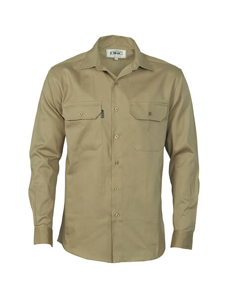 DNC Cotton Drill L/S Work Shirt - Long Sleeve (3202)