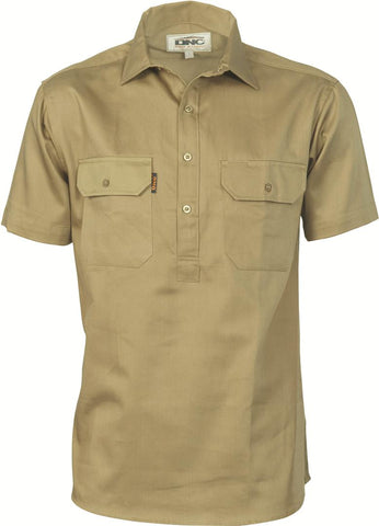 DNC Cotton Drill Close Front Work Shirt - Short Sleeve (3203)