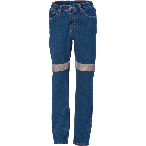 DNC Ladies Taped Denim Stretch Jeans CSR R/Tape (3339)
