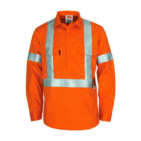 "DNC Patron saint flame retardant arc rated closed front shirt with ""X"" back 3M F/R R/tape - L/S (3408)"