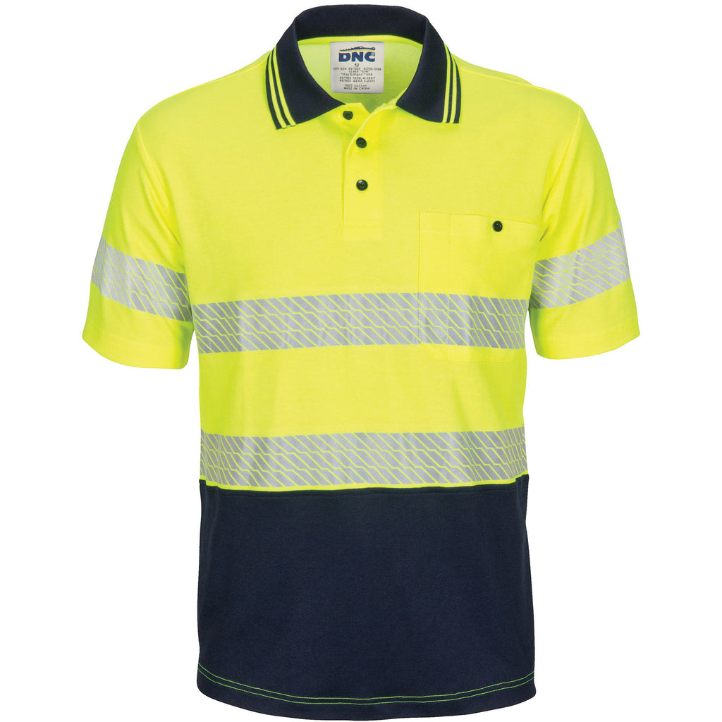 DNC Hivis Segment Taped Cotton Backed Polo - Short Sleeve (3517)