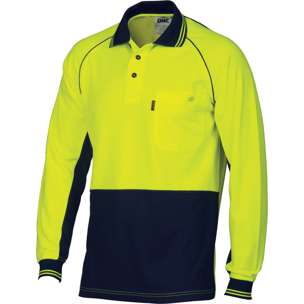 DNC HiVis Cotton Backed Cool-breeze Contrast Polo - Long Sleeve (3720)