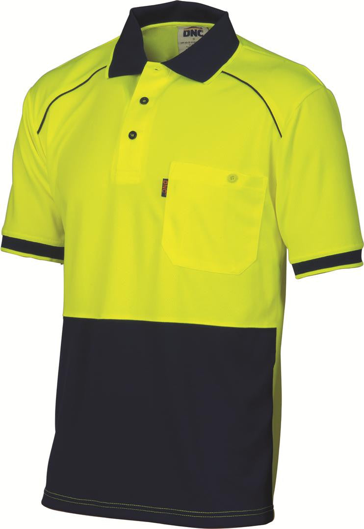 DNC HiVis Cool Breathe HiVis Cool Breathe Front Piping Polo (3754)