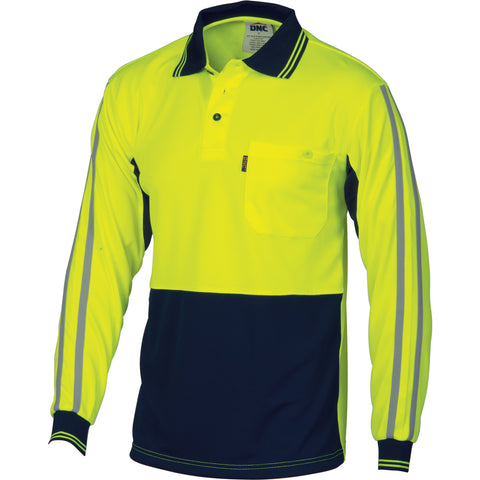 DNC HiVis Cool-Breathe Stripe Polo-long Sleeve (3756)