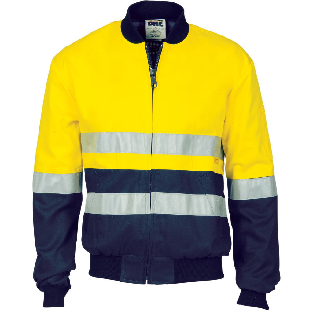 DNC Workwear-DNC HiVis Two Tone D/N Cotton Bomber Jacket with 3m r/tape--Uniform Wholesalers - 1