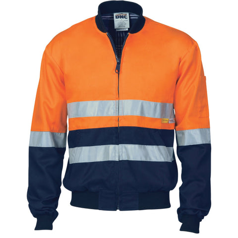 DNC Workwear-DNC HiVis Two Tone D/N Cotton Bomber Jacket with 3m r/tape--Uniform Wholesalers - 2
