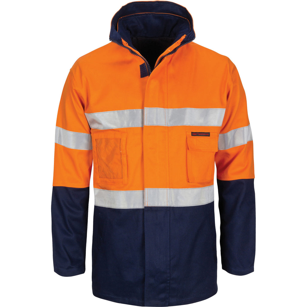 "DNC HiVis ""4 IN 1"" Cotton Drill Jacket with Generic R/Tape (3764)"