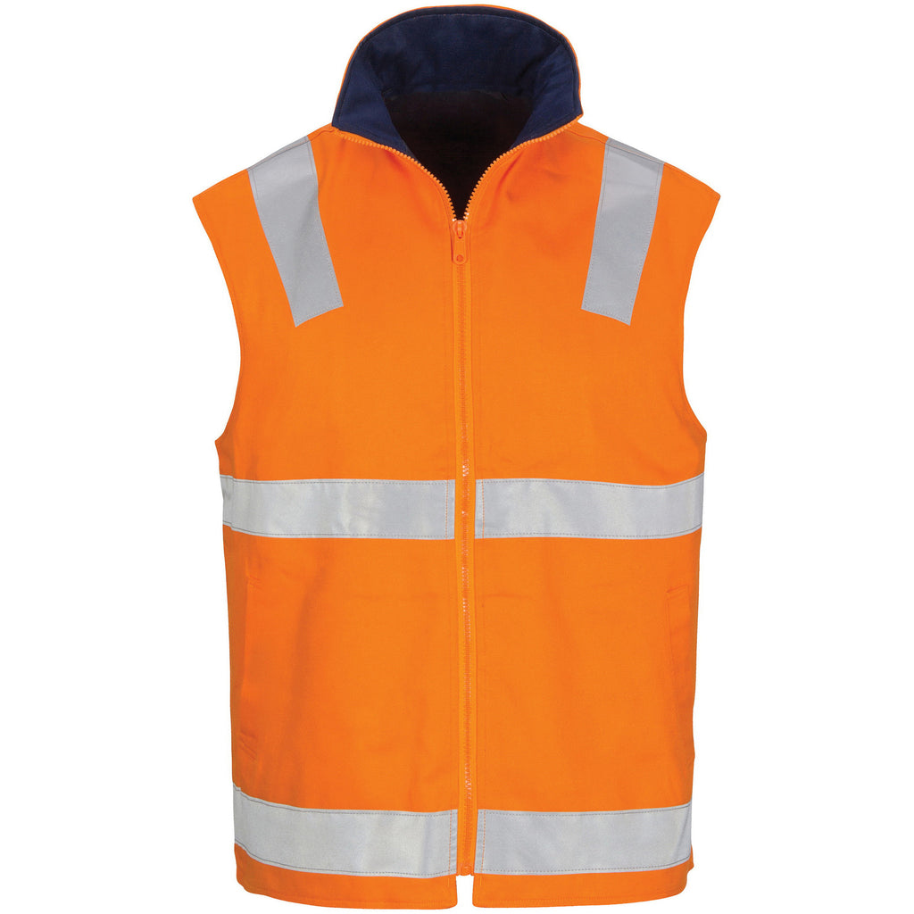 DNC HiVis Cotton Drill Reversible Vest with Generic R/Tape (3765)