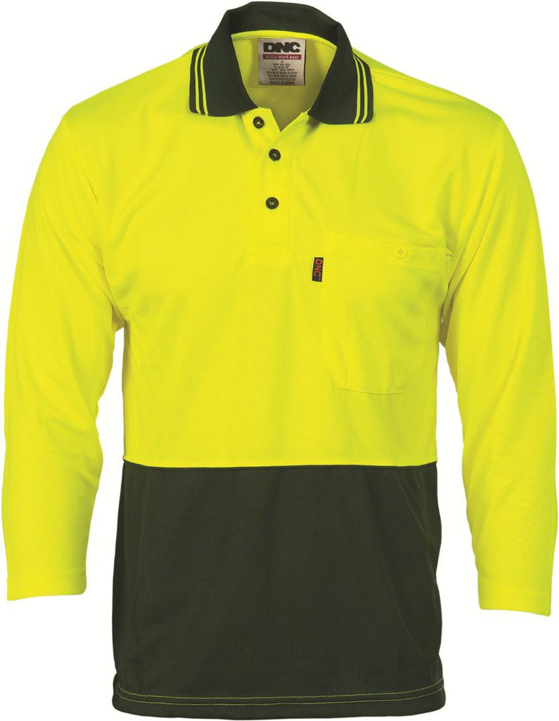 DNC HiVis Two Tone Fluoro Polo Shirt, Micromesh, 3/4 Sleeve (3812)