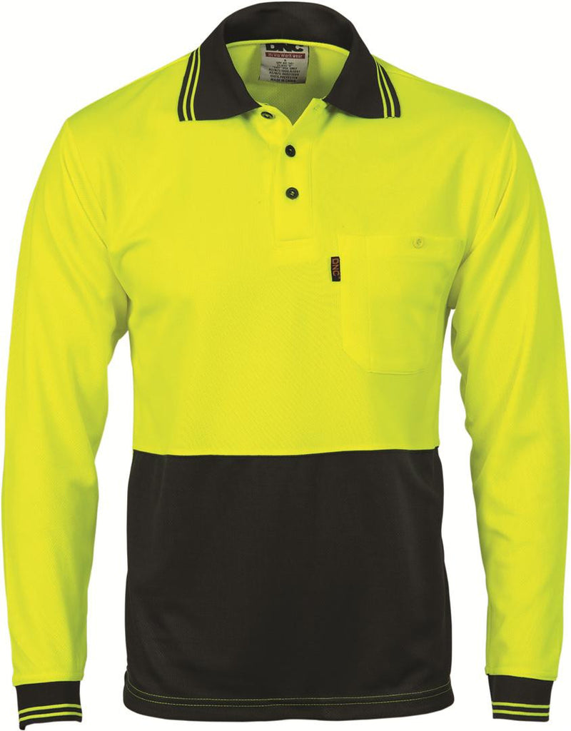 DNC Hivis Two Tone Cool Breathe Polo Shirt, Long Sleeve (3813)