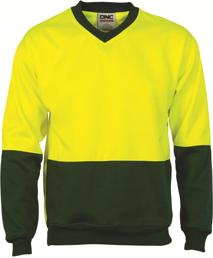 DNC HiVis Two tone Fleecy Sweat Shirt, V-Neck (3822)