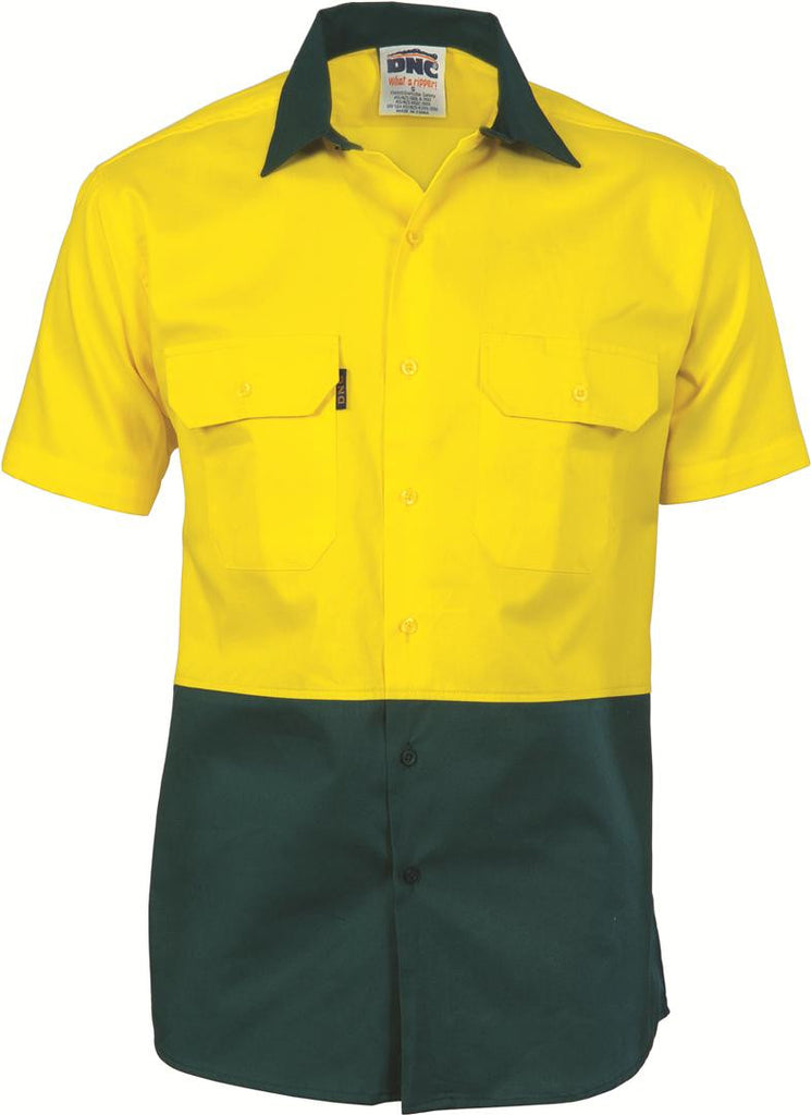 DNC HiVis Two Tone Cotton Drill Shirt, Short Sleeve (3831)