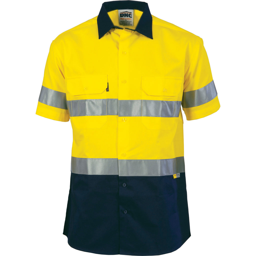 DNC HiVis Two Tone Drill Shirt with 3M 8906 R/Tape - short sleeve (3833)