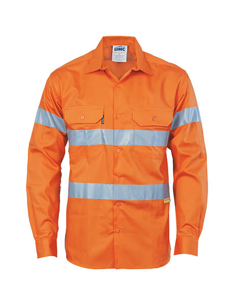 DNC HiVis Drill Shirt with 3M R/Tape, Long Sleeve (3835)
