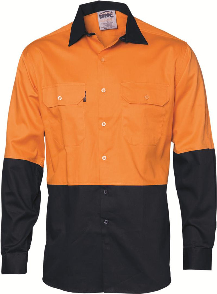 DNC HiVis Two Tone Cool-Breeze Cotton Shirt, Long Sleeve (3840)