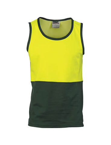 DNC Hi Vis Cotton Back Two Tone Singlet (3841)
