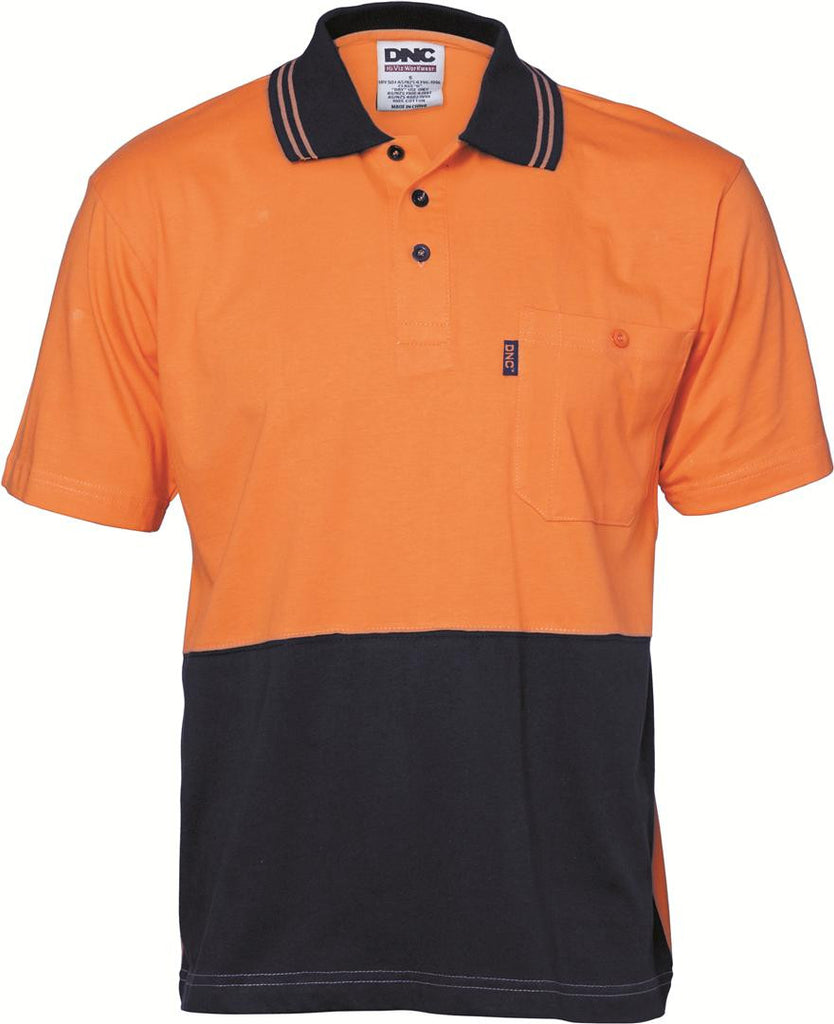 DNC HiVis Cool-Breeze Cotton Jersey S/S Polo Shirt with Under Arm Cotton Mesh (3845)