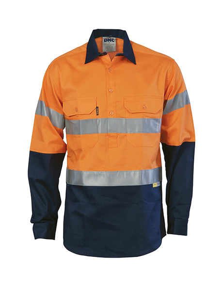 DNC HiVis Two Tone Close Front Cotton Shirt with 3M 8910 R/Tape, Long Sleeve (3849)