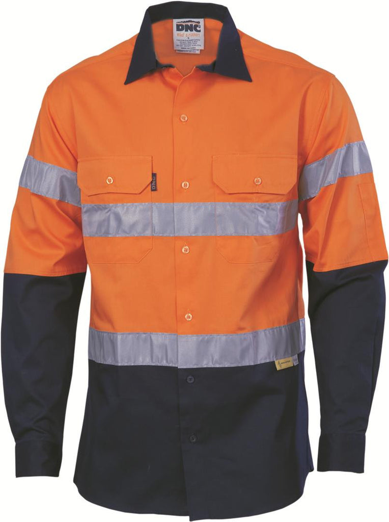 DNC HiVis Two Tone Cool-Breeze Cotton Shirt with 3M Reflective Tape, L/S (3886)