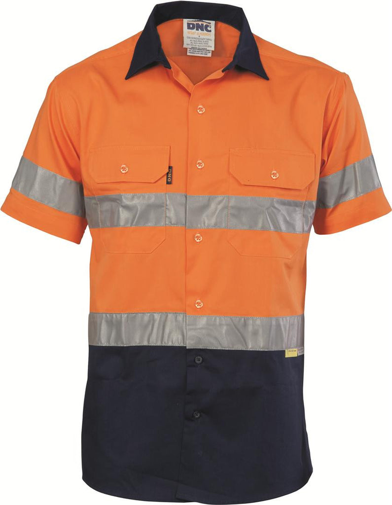 DNCHiVis Two Tone Cool-Breeze Cotton Shirt with 3M Reflective Tape, S/S (3887)