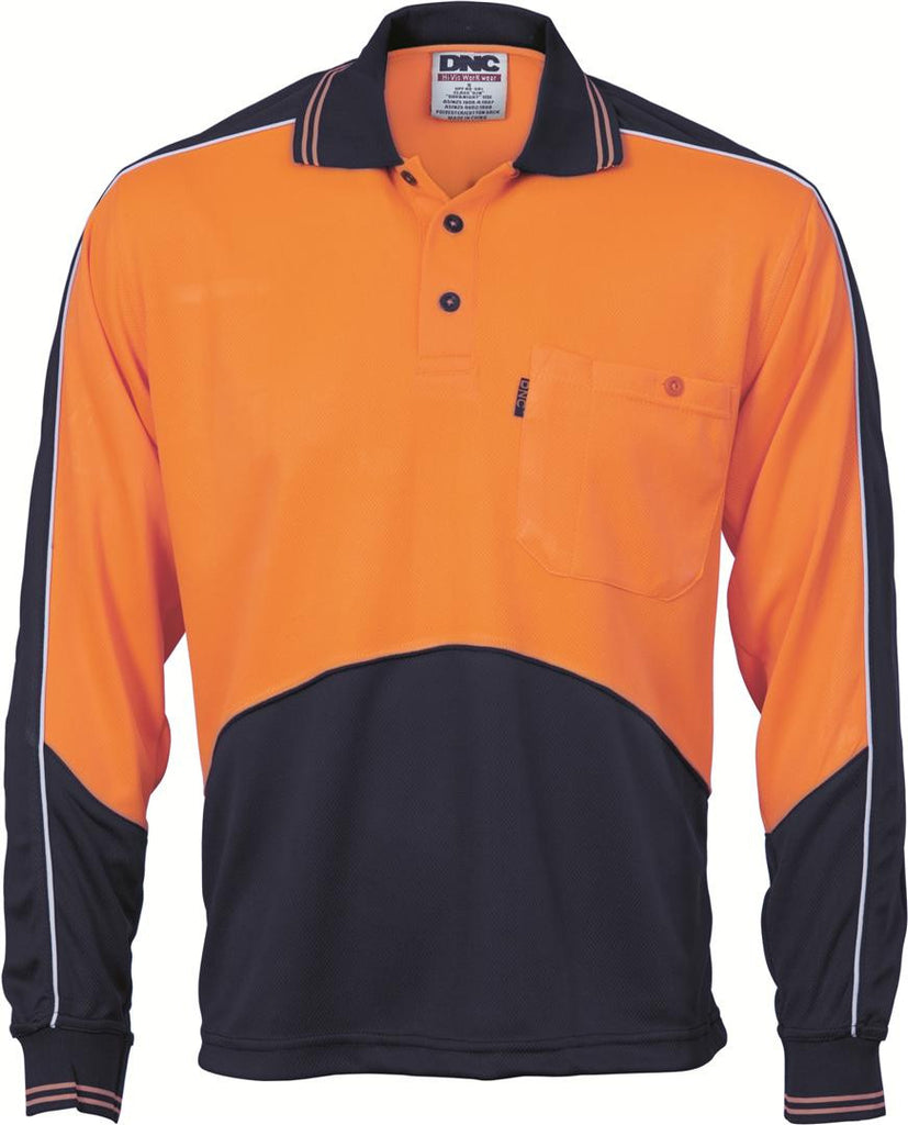 DNC HiVis Cool Breathe Panel Polo Shirt - Long Sleeve (3892)