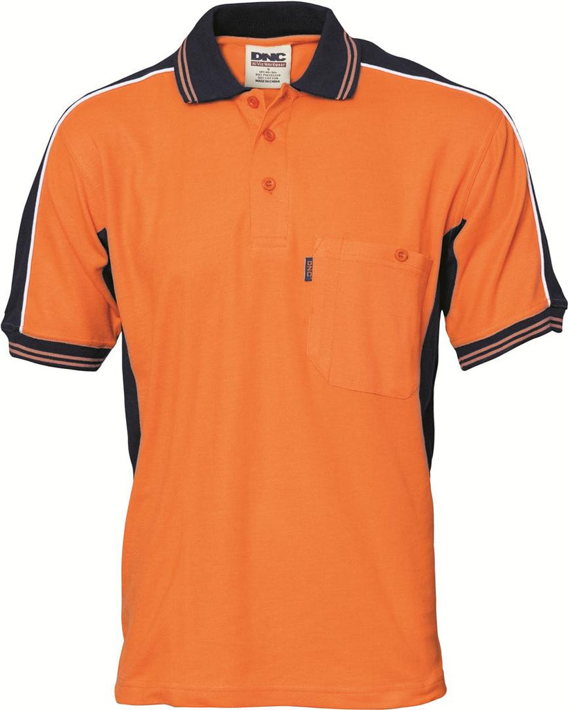 DNC HiVis Poly/Cotton Contrast Panel Polo, S/S (3895)