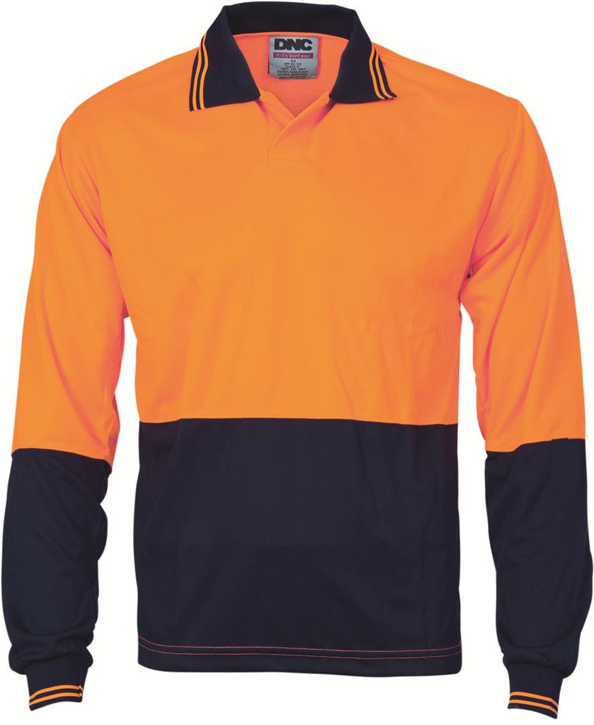 DNC HiVis Two Tone Food Industry Polo, Long Sleeve (3904)