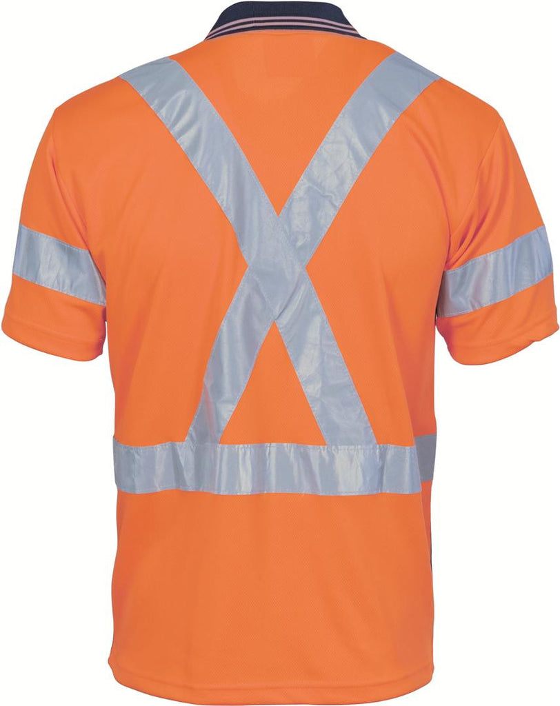 DNC HiVis D/N Cool Breathe Polo Shirt with Cross Back R/Tape - Short Sleeve (3912)