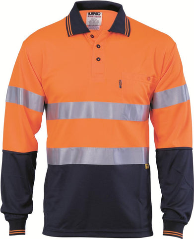 DNC Hivis D/N Cool-breathe Polo Shirt With 3M 8906 R/Tape - Long Sleeve  (3913)