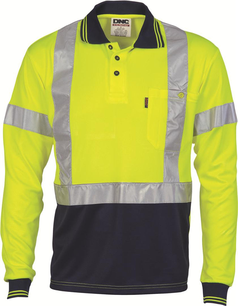 DNC HiVis D/N Cool Breathe Polo Shirt with Cross Back R/Tape - Long Sleeve (3914)