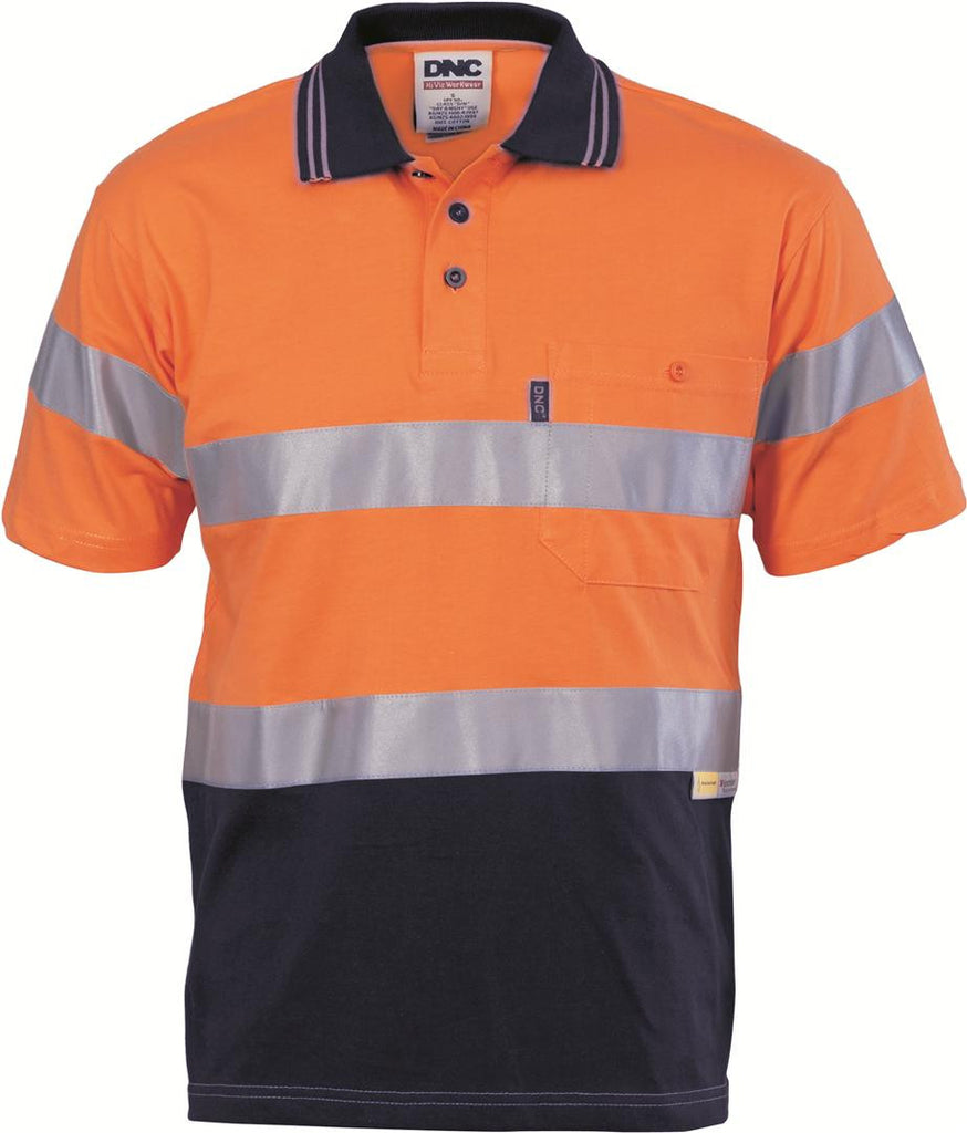 DNC Hivis Cool-Breeze Cotton Jersey Polo With CSR R/Tape - S/S (3915)