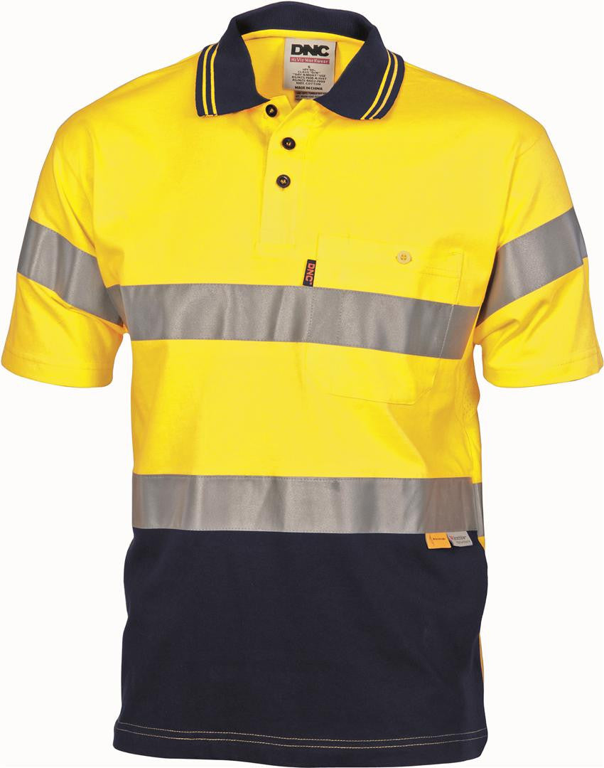 DNC HiVis Cool-Breeze Cotton Jersey S/S Polo with 3M R/T (3915)