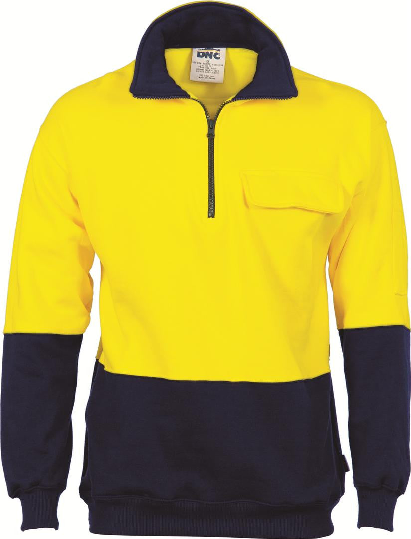 DNC HiVis Two Tone 1/2 Zip Cotton Fleecy Windcheater (3923)