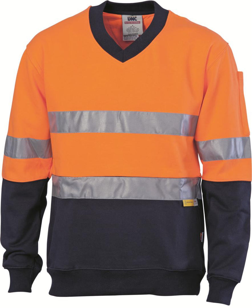 DNC HiVis Two Tone Cotton Fleecy Sweat Shirt, V-Neck with 3M R/T (3924)