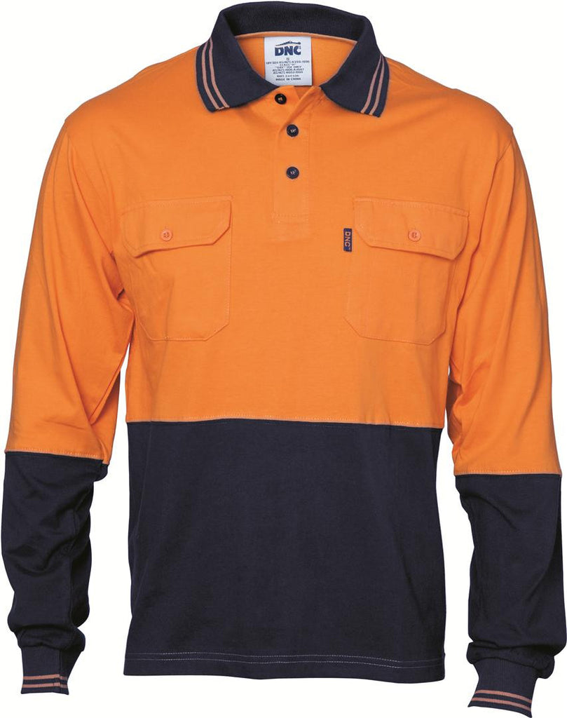 DNC HiVis Cool-Breeze 2 Tone Cotton Jersey Polo Shirt with Twin Chest Pocket - L/S (3944)