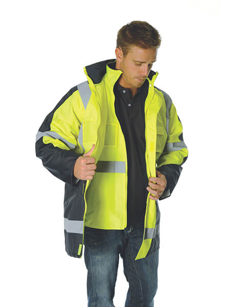 "DNC Hivis Cross Back 2 Tone D/N ""6 In 1"" Contrast Jacket (Outer Jacket And Inner Vest Can Be Sold Separ (3998)"