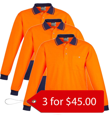 Syzmik ZH232 Unisex Day Only Basic Polo - Long Sleeve - 3Pack