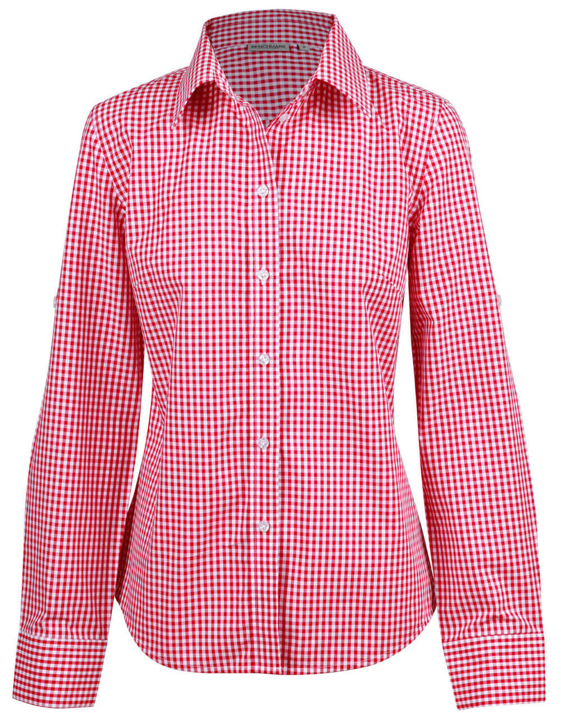 Winning Spirit Ladies' Gingham Check Long Sleeve Shirt (M8300L)