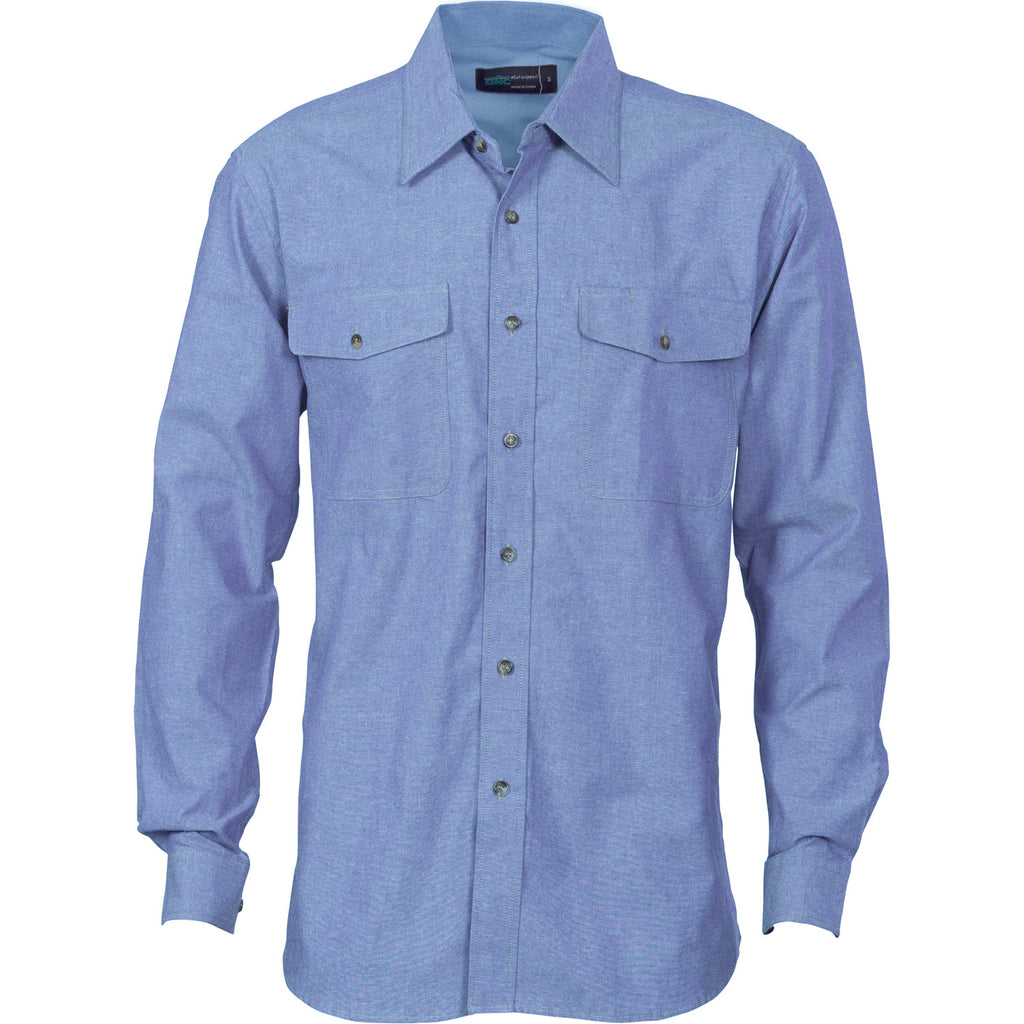 DNC Mens Twin Flap Pocket L/S Cotton Chambray (4104)
