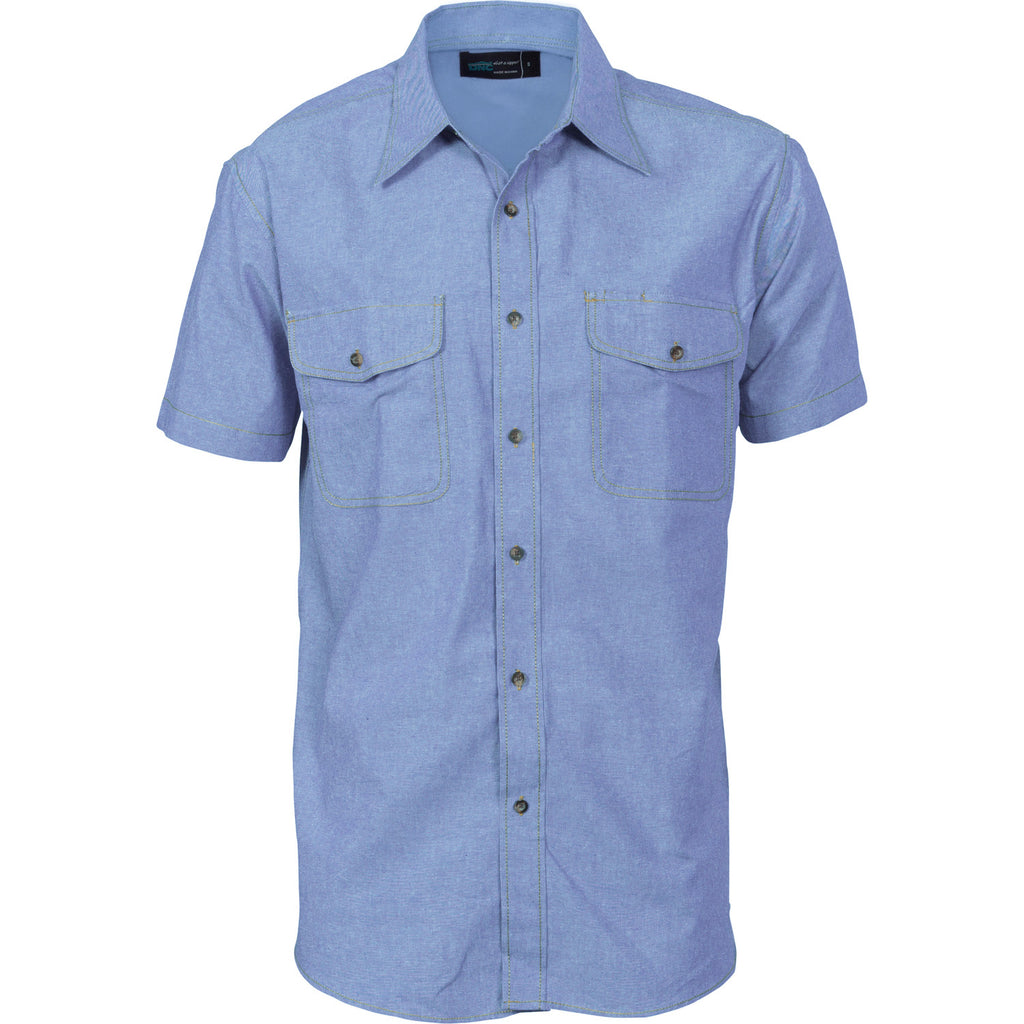 DNC Mens Twin Flap Pocket S/S Cotton Chambray (4103)