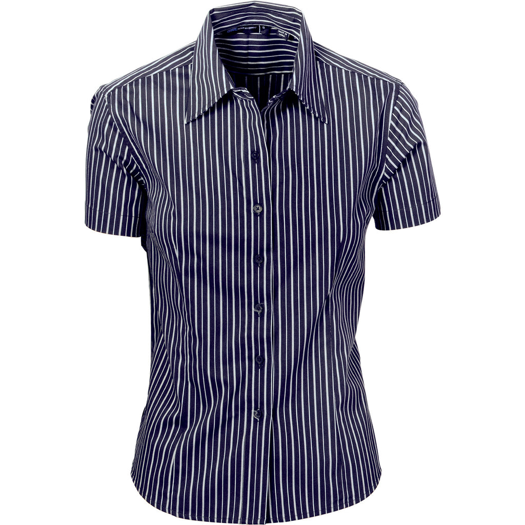 DNC Ladies Stretch Yarn Dyed Contrast S/S Stripe Shirt (4233)