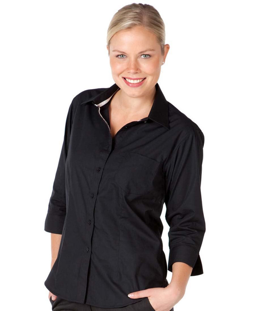 JB's Ladies Contrast Placket 3/4 Sleeve Shirt (4PCL3)