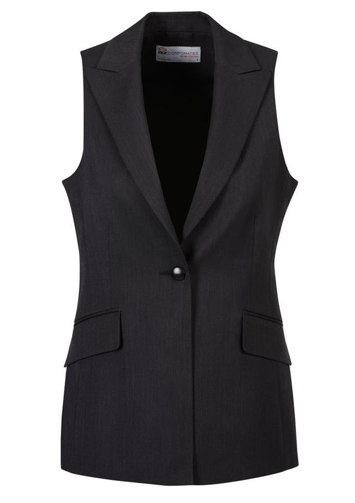 Biz Corporates-Biz Corporates Ladies Longline Sleeveless Jacket-Black / 4-Corporate Apparel Online - 2