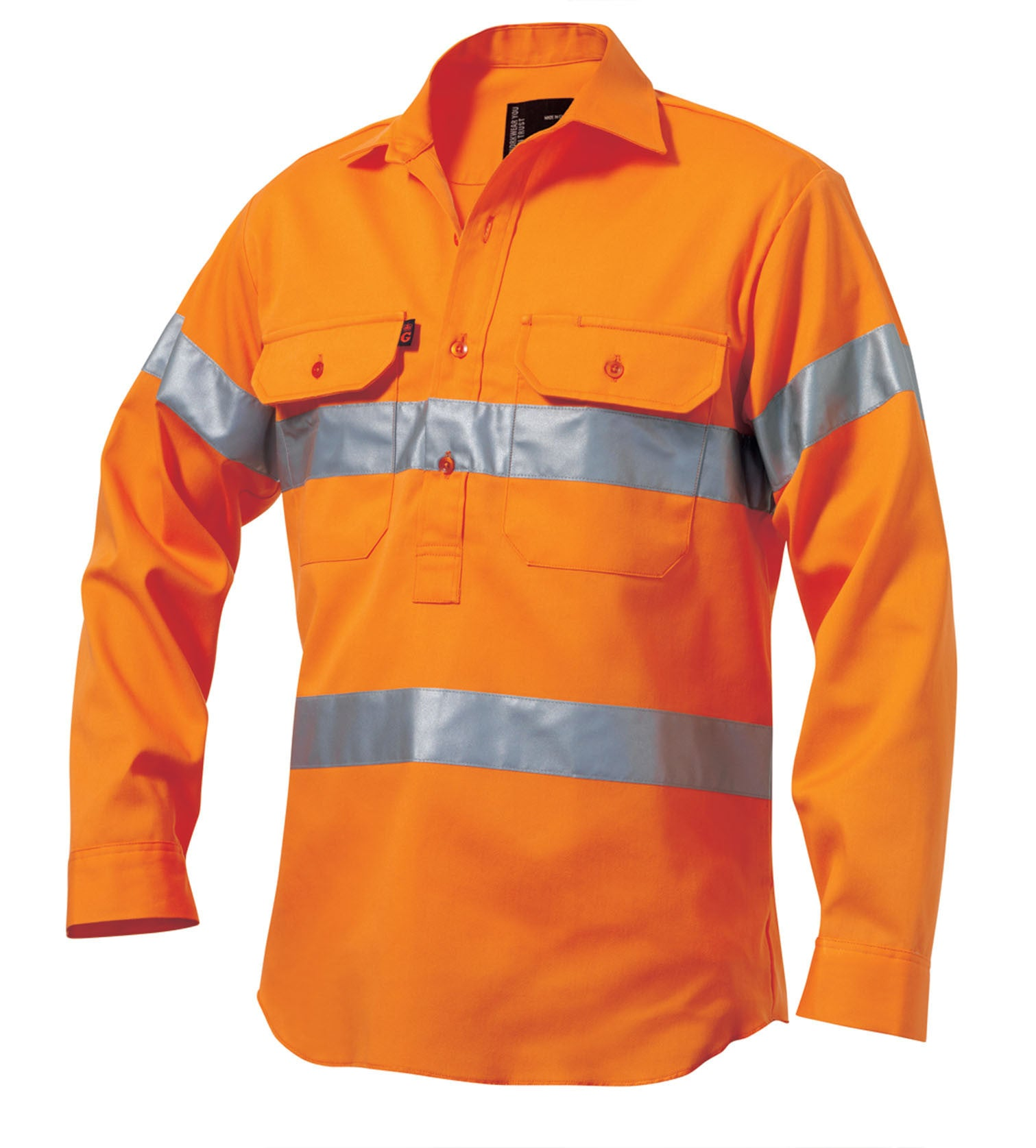 King Gee Reflective Hi Vis Closed Front L/s 'hoop' (K54620)