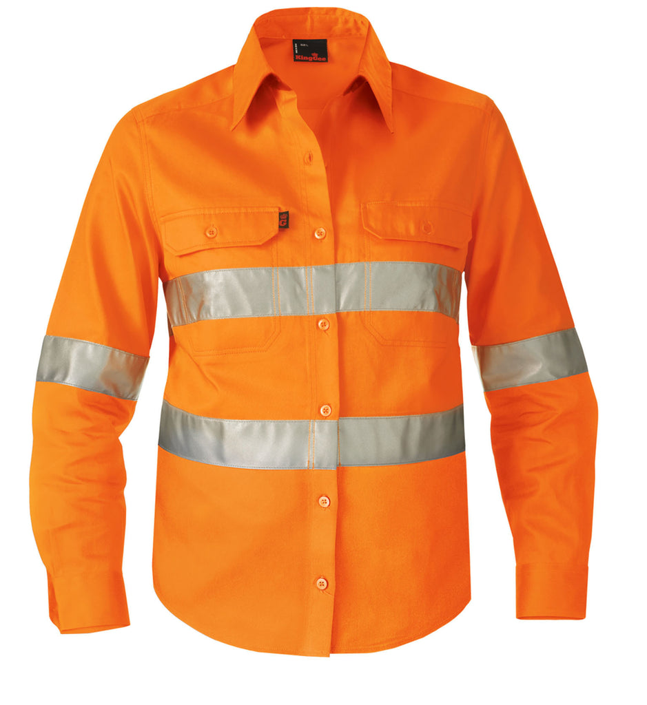 King Gee  Women's Reflective Drill Shirt L/S (K44531)