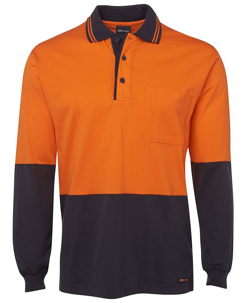 Jb's Hi Vis Long Sleeve Cotton Polo - Adults (6CPHL)
